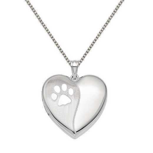 QLS879-QBX019RH-18: SS Rho Satin and Polished Paw Prints Ash Holder Heart