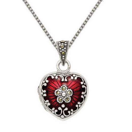 QP1291-QBX019RH-18: SS Red Enamel and Marcasite Heart Locket with Chain
