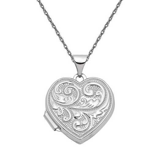 "XL327-5RW-18: 14k White Gold ""Love you always"" Heart Locket with Chain"