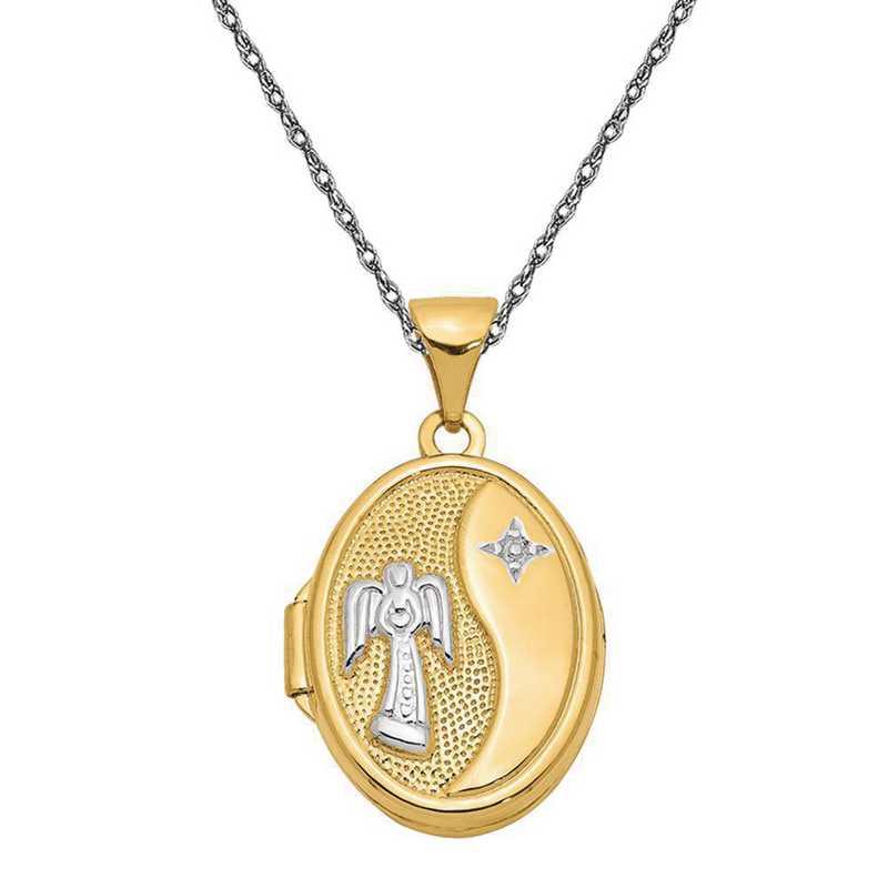 14k w//Rhodium Polished Guardian Angel in Heart Pendant