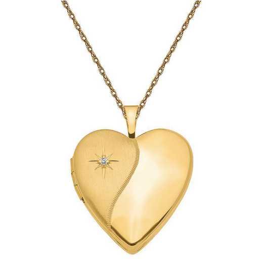 XL594-5RY-18: 14K 20mm Polished Satin w/ Diamond Heart Locket with Chain