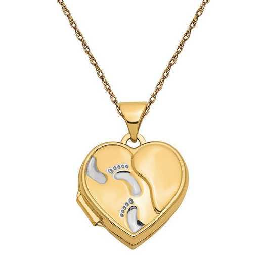 XL646-5RY-18: 14k w/Rhodium 15mm Heart Foot Prints Locket with Chain