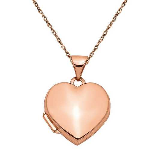XL660-5RR-18: 14k Rose Gold 15mm Plain Heart Locket with Chain