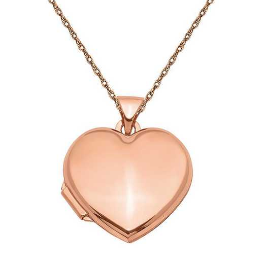 XL663-5RR-18: 14k Rose Gold 18mm Domed Heart Locket with Chain