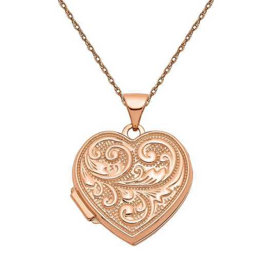 """XL664-5RR-18: 14k Rose Gold 18mm """"Love you always"""" Heart Locket with Chain"""