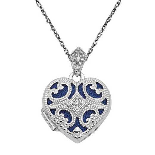 XL693-5RW-18: 14k White Gold 15mm Diamond Heart Locket with Chain