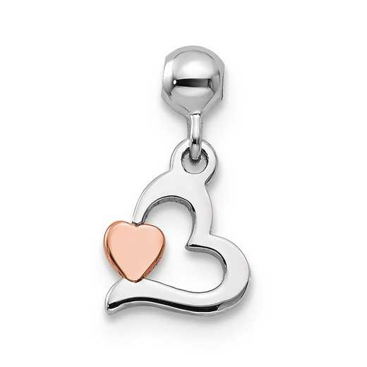 QMM134: 925 Mio Memento RGRP Dangle Heart Charm