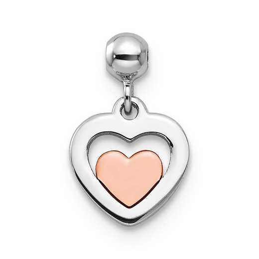 QMM135: 925 Mio Memento RHS RH PLT Tone Heart Charm
