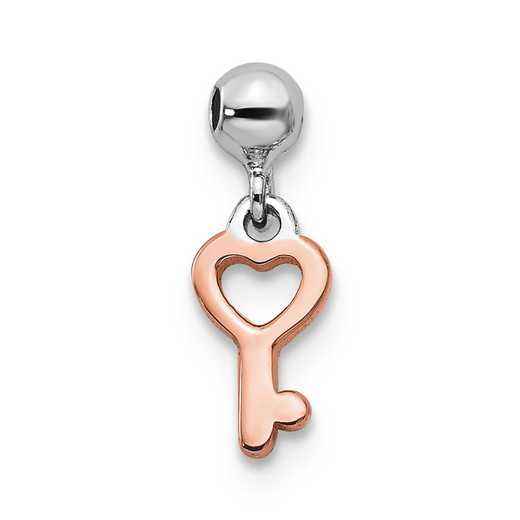 QMM138: 925 Mio Memento RHS RH PLT Key Heart Charm