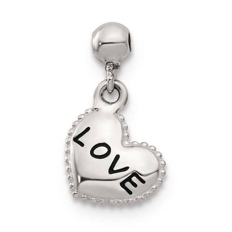 QMM142: 925 Mio Memento Enamel Dangle Love Heart Charm