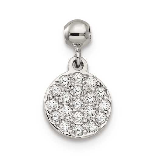 QMM171: 925 Mio Memento CZ Dangle Circle Charm