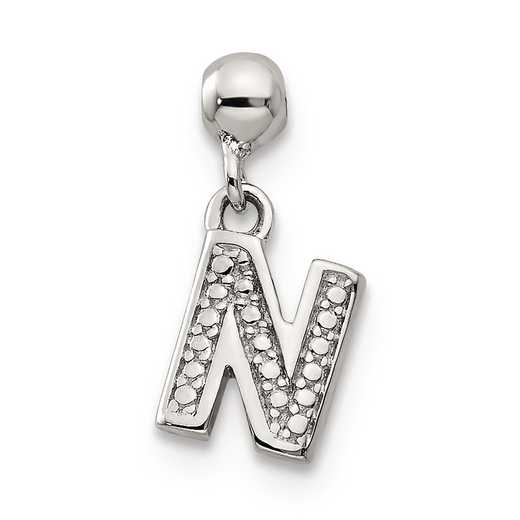 QMM190N: 925 Mio Memento Dangle Letter N Charm