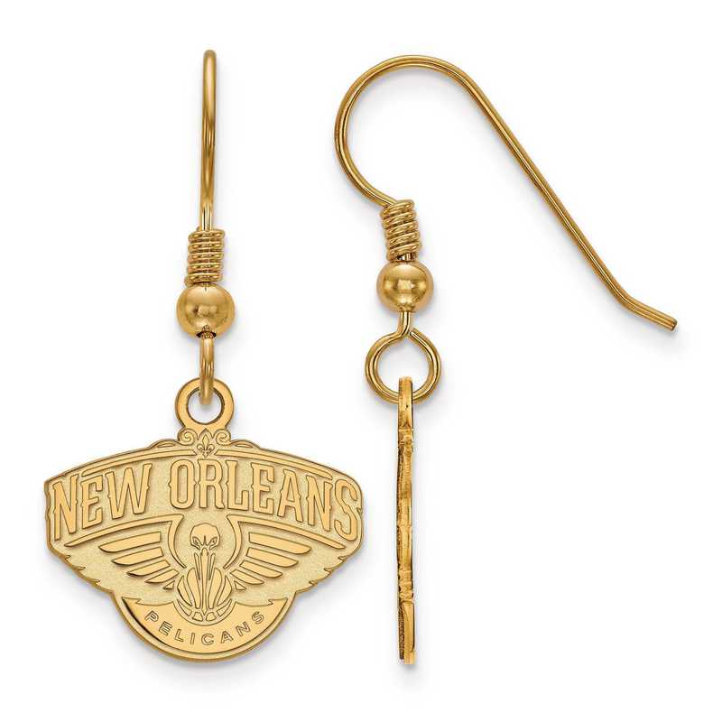 GP006PEL: 925 YGFP LogoArt New Orleans Pelicans Dangle Ears