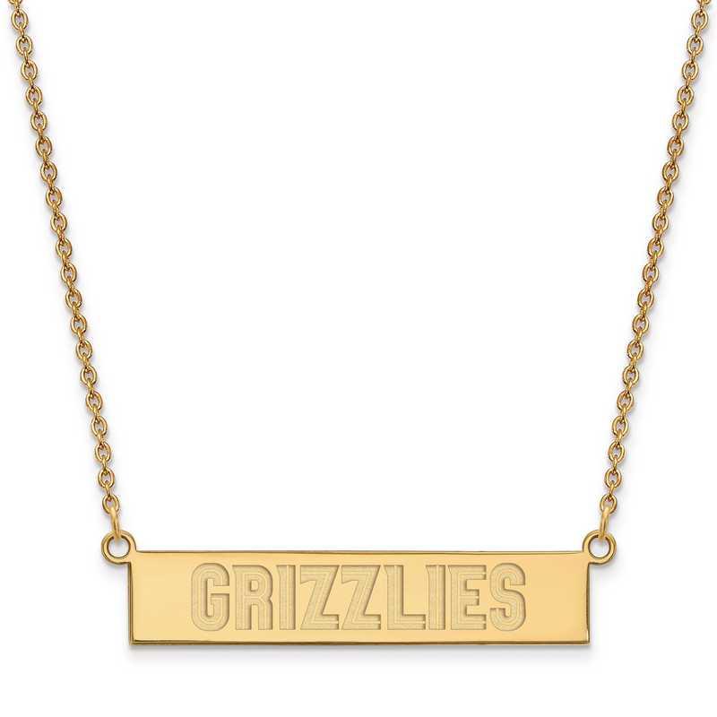 GP023GRI-18: 925 YGFP Memphis Grizzlies Bar Necklace