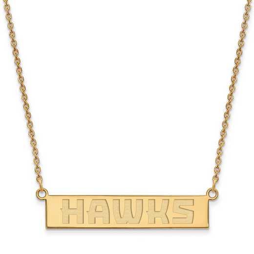 GP023HAW-18: 925 YGFP Atlanta Hawks Bar Necklace