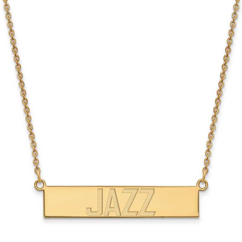 GP023JAZ-18: 925 YGFP Utah Jazz Bar Necklace
