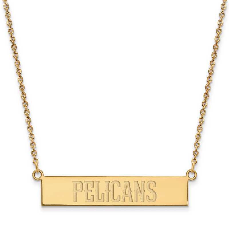 GP023PEL-18: 925 YGFP New Orleans Pelicans Bar Necklace