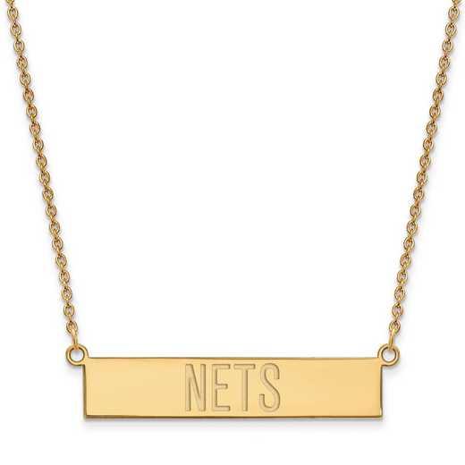 GP025NET-18: 925 YGFP Brooklyn Nets Bar Necklace