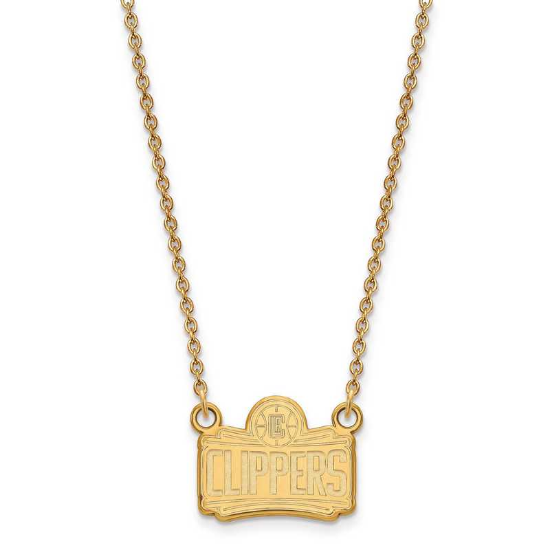 GP026CLI-18: 925 YGFP LogoArt Los Angeles Clippers Pendant Neck