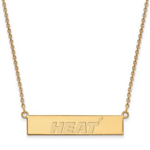 GP027HEA-18: 925 YGFP Miami Heat Bar Necklace