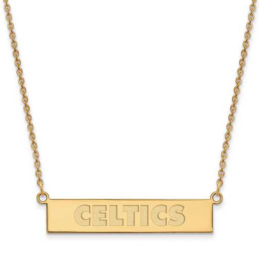 GP035CEL-18: 925 YGFP Boston Celtics Bar Necklace