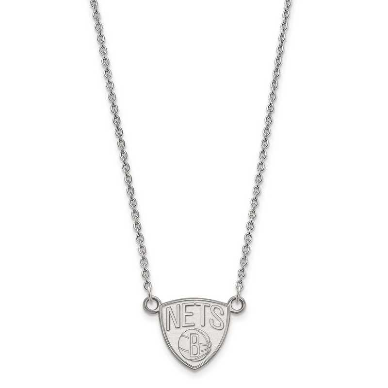 SS012NET-18: 925 LogoArt Brooklyn Nets Pendant Neck