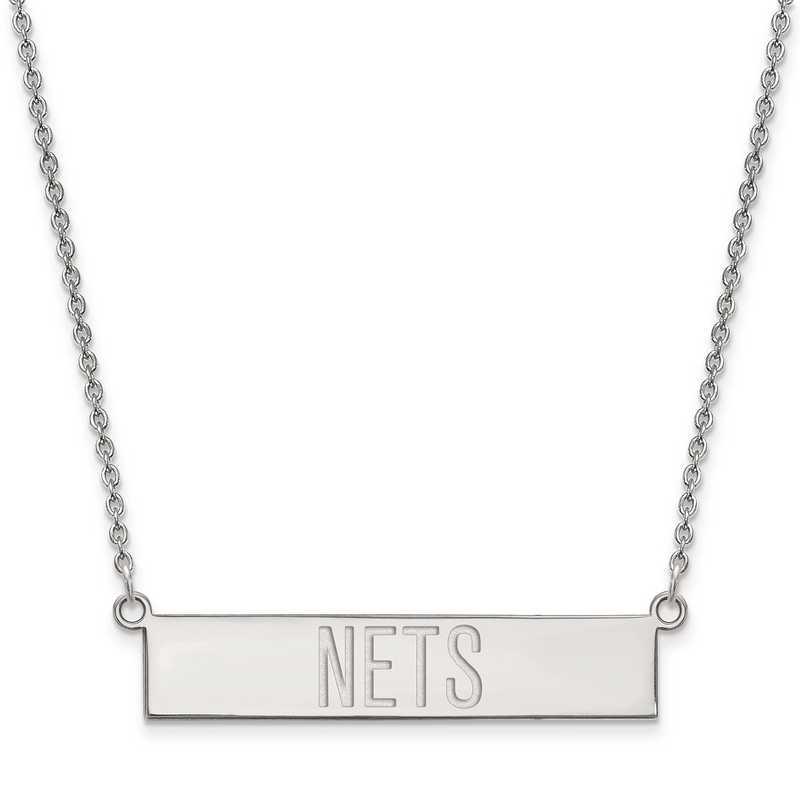 SS025NET-18: 925 Brooklyn Nets Bar Necklace