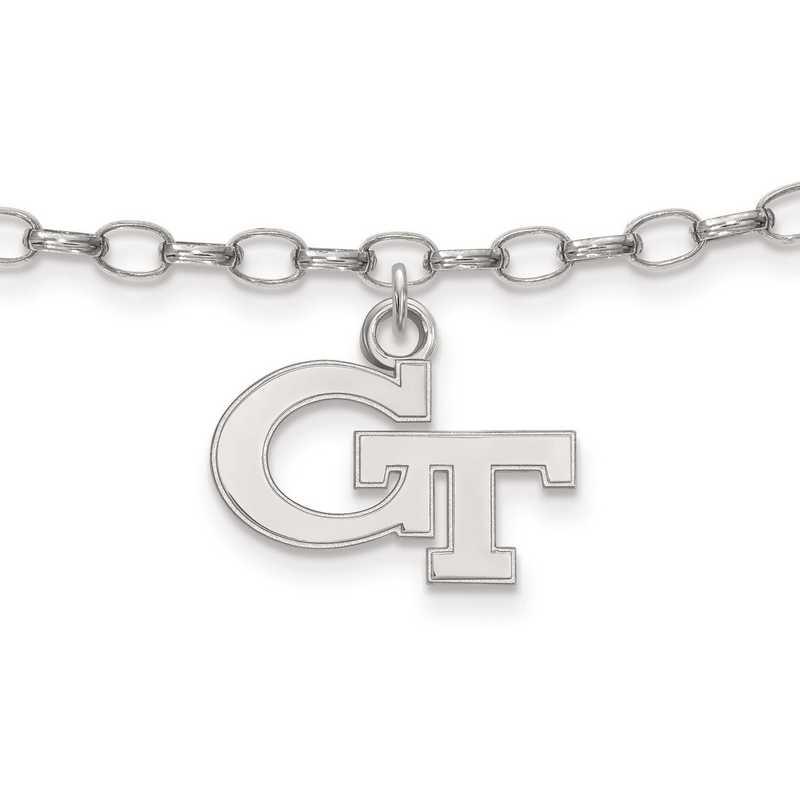 SS024GT: Sterling Silver LogoArt Georgia InstituteofTechnology Anklet