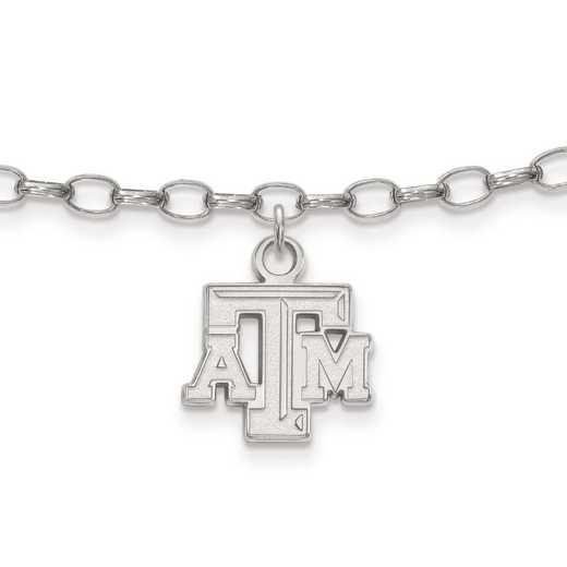 SS024TAM: Sterling Silver LogoArt Texas A&M University Anklet