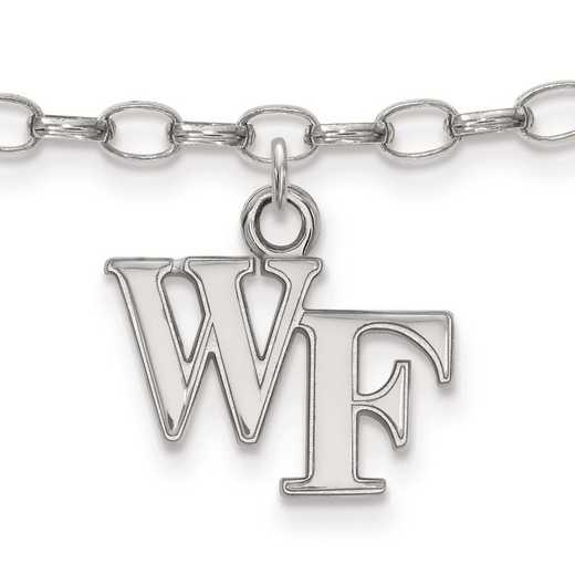 SS024WFU: Sterling Silver LogoArt Wake Forest University Anklet