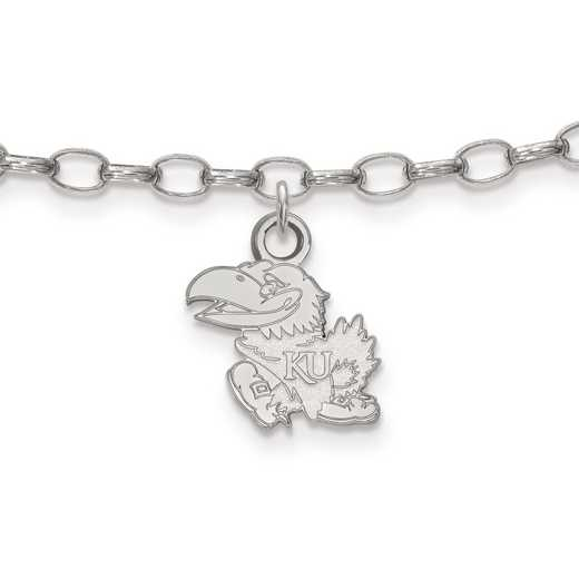 SS026UKS: Sterling Silver LogoArt University of Kansas Anklet