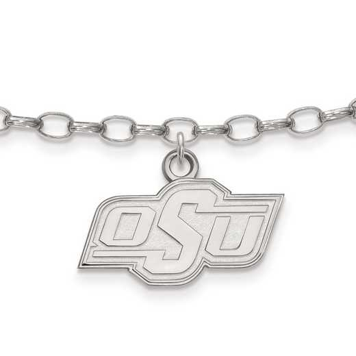 SS029OKS: Sterling Silver LogoArt Oklahoma State University Anklet