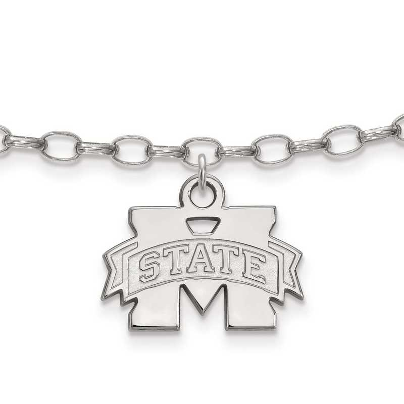 SS030MSS: Sterling Silver LogoArt Mississippi State University Anklet