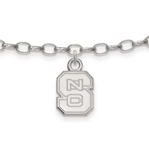 SS030NCS: Sterling Silver LogoArt North Carolina St University Anklet