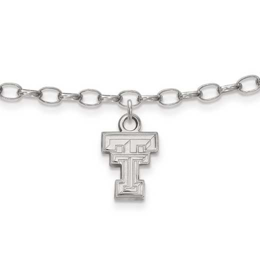 SS030TXT: Sterling Silver LogoArt Texas Tech University Anklet