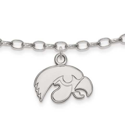 SS030UIA: Sterling Silver LogoArt University of Iowa Anklet