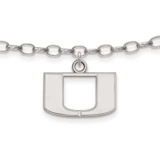 SS030UMF: Sterling Silver LogoArt University of Miami Anklet