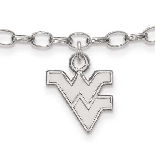 SS030WVU: Sterling Silver LogoArt West Virginia University Anklet