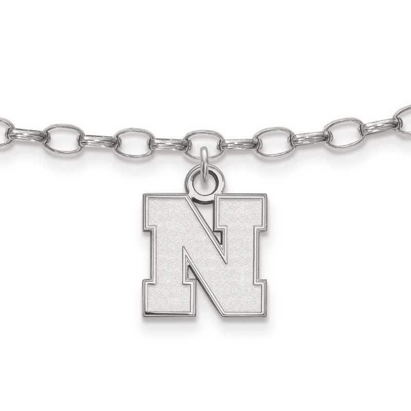 SS065UNE: Sterling Silver LogoArt University of Nebraska XS Anklet