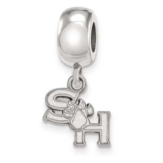 SS014SHS: SS Rh-pl LogoArt Sam Houston State Univ Bead Charm XS Dangle