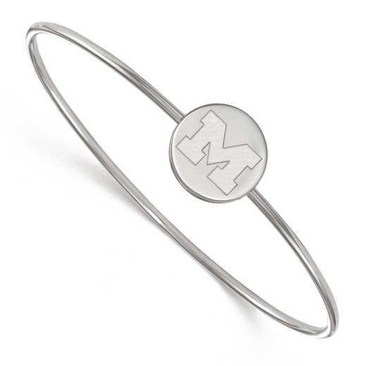 SS014UM-7: SS LogoArt Univ of Michigan Slip on Bangle