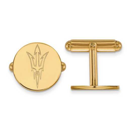 4Y010AZS: 14ky LogoArt Arizona State University Cuff Link