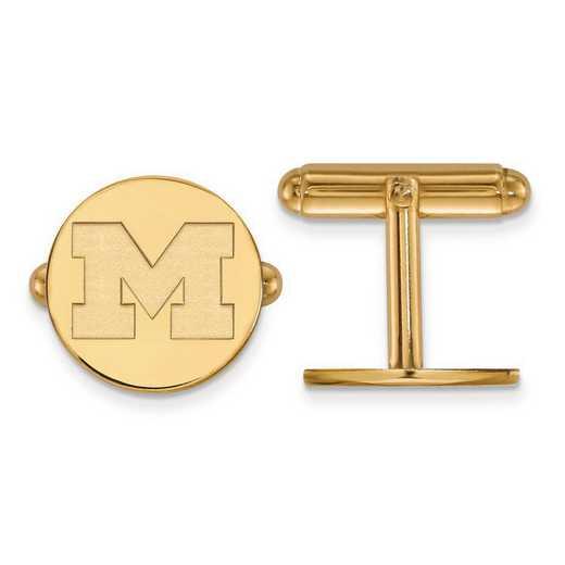 4Y011UM: 14ky LogoArt Michigan (Univ Of) Cuff Link