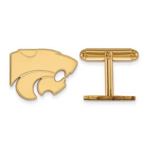 4Y012KSU: 14ky LogoArt Kansas State University Cuff Link