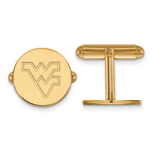 4Y012WVU: 14ky LogoArt West Virginia University Cuff Link