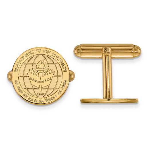 4Y017UHI: 14ky LogoArt The University of Hawai'i Crest Cuff Link