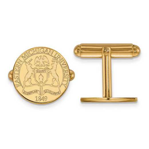 4Y018EMU: 14ky LogoArt Eastern Michigan University Crest Cuff Link
