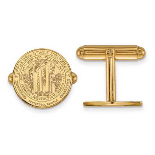 4Y018PSK: 14ky LogoArt Pittsburg State University Crest Cuff Link
