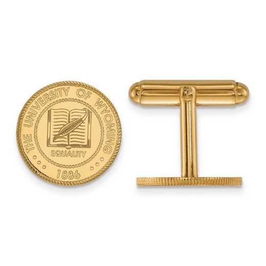 4Y020UWY: 14ky LogoArt The University of Wyoming Crest Cuff Link