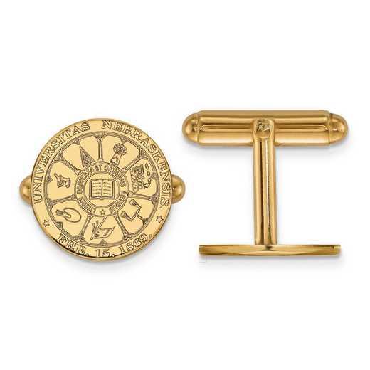 4Y046UNE: 14ky LogoArt University of Nebraska Crest Cuff Link